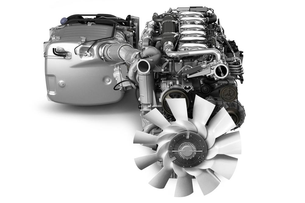 13-литровый двигатель Scania Euro 6 с интегрированным глушителем и системой дожига отработавших газов, 2011