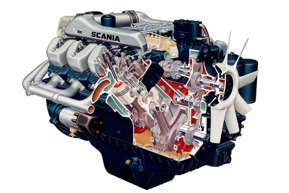 Двигатель Scania DS14 V8 350 л.с., 1969
