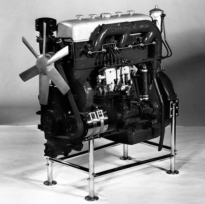 Первый дизельный двигатель Scania-Vabis (6 цилиндров, объем 7,74 литра, 120 л.с.), 1936